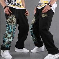 Calças de suor dos homens parkour hiphop designer boutique de algodão sweatpants hip hop calças de impressão preto cinza