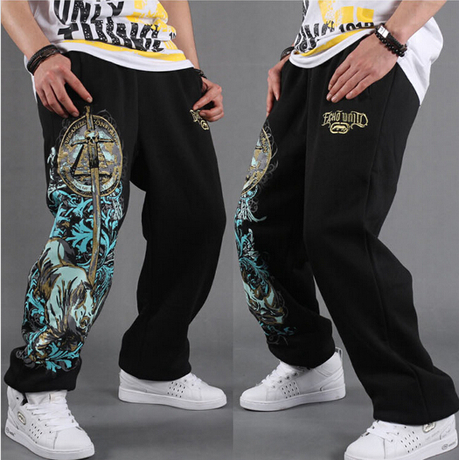 Men's Sweat Pants  HipHop Designer Cotton Fashio Sweatpants Parkour Hip Hop Print Trouser Black Gray