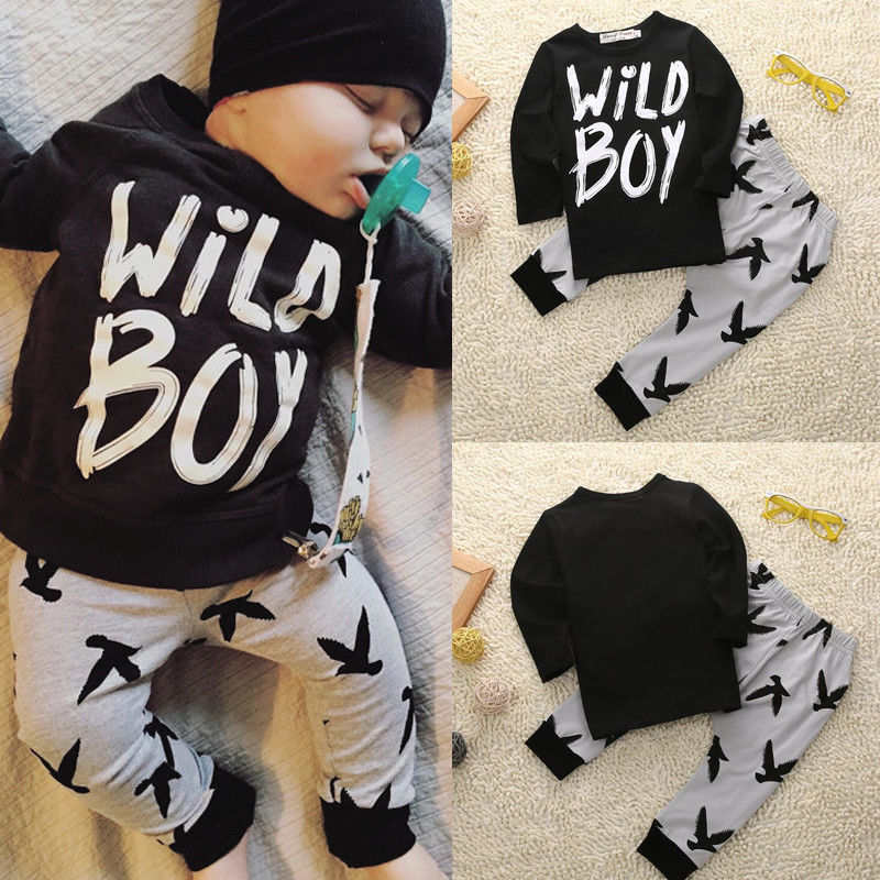 Kids Newborn Baby Boys Clothes Wild Boy Letter Long Sleeve T-Shirt Tops Pants 2pcs Baby Boy Outfits Set newborn kids baby boy summer clothes set t shirt tops pants outfits boys sets 2pcs 0 3y camouflage