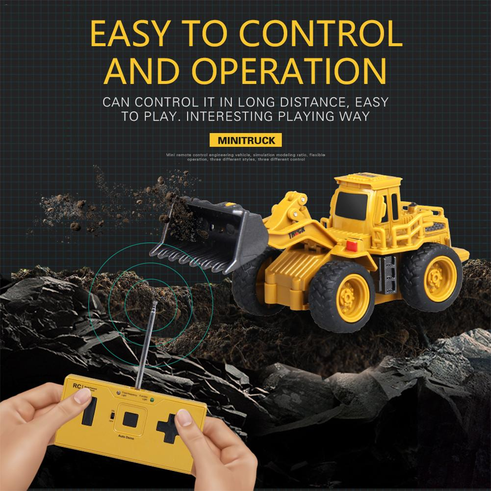 Mini Size Rc Remote Control Construction Vehicle Engineering Cars Excavator Model Toys 4-Channel Bulldozer Crane Truck Toys