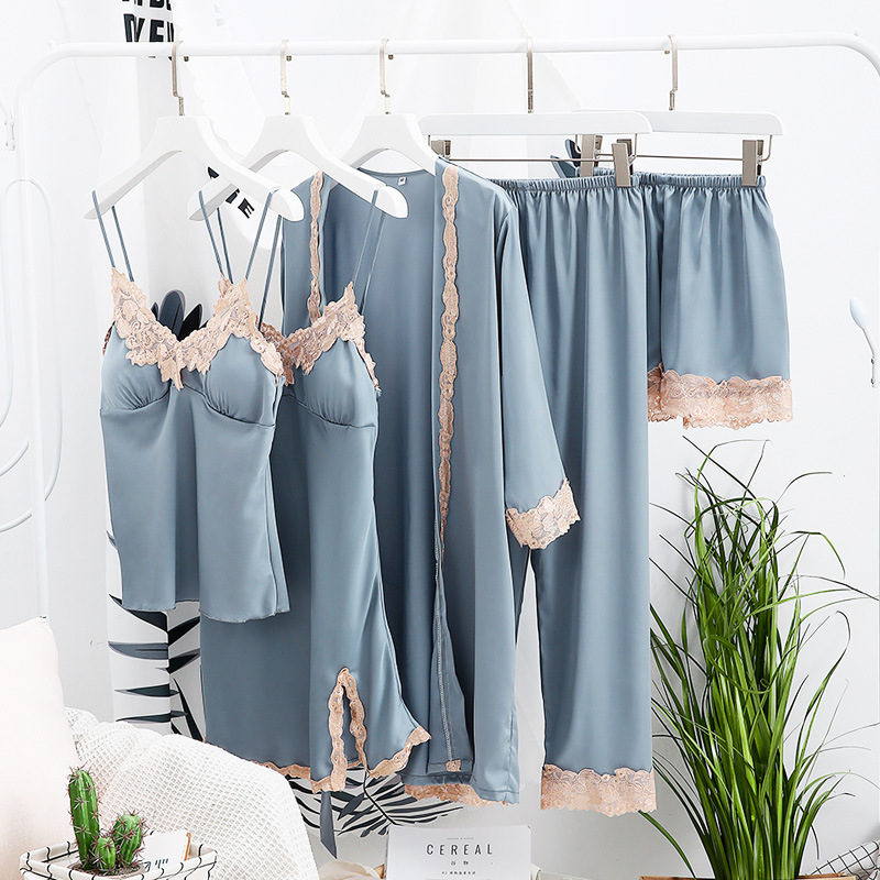 2019 Summer with Chest Cushion Pajamas Female Ice Silk Sexy Five-piece Home Suit Silk Sling Skirt Nightgown Suit Thin Sleep Set