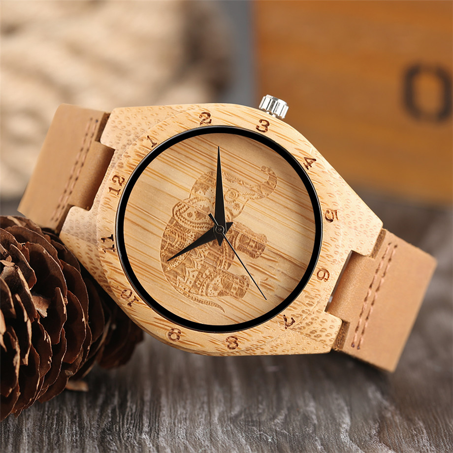 Boho Style Wooden Watch Women Creative Elephant Carving Dial Nature Wood Case Novel Gift Casual Wristwatches relogio masculino (12)