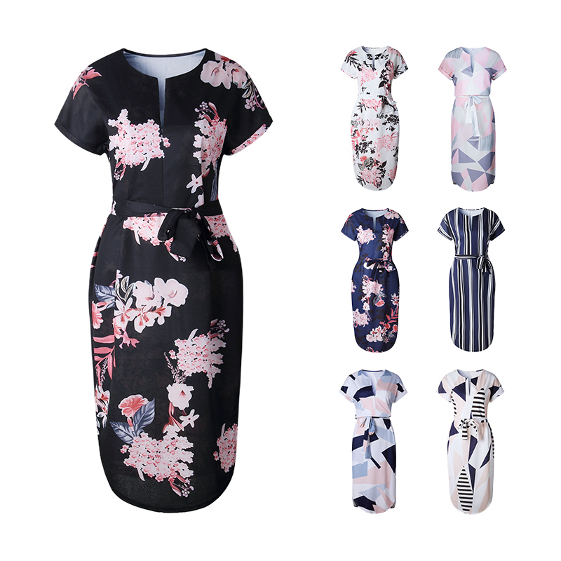95cea60d10d3 LANGSTAR Women Dress Casual V Neck Floral Print Geometric Pattern Belted  Dress Woman Summer Dresses Sashes Robe Elegant Vestidos-in Dresses from  Women s ...