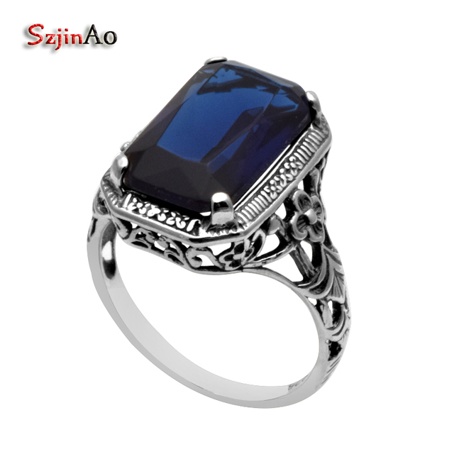 Fine Jewelry Womens Blue Sapphire Sterling Silver Band QwUGmQKYt6