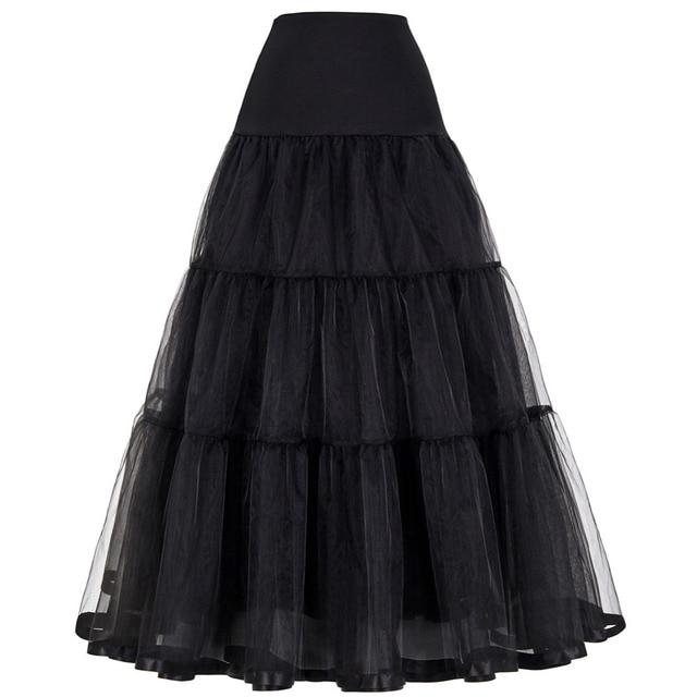 Vintage Dress Petticoat for Wedding Retro Crinoline Women 3 Hoops Wedding Accessories Black White Long Petticoats Underskirt