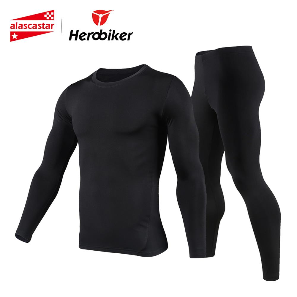 Nowi mężczyźni polarowa bielizna termiczna Outdoor Sport Motorcycle Narciarstwo Winter Warm Base Layers Tight Long Johns Topy i spodnie Set
