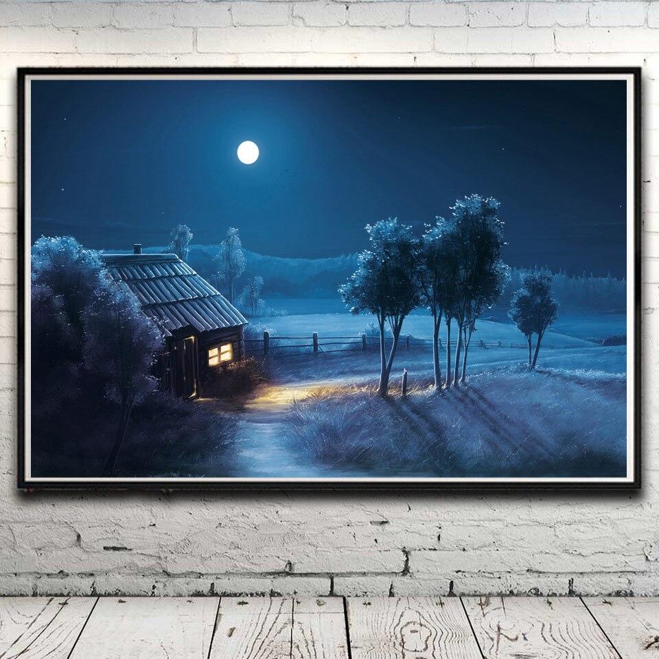 Bäume Gras Haus Schnee Winter Landschaft Kunst Silk Poster Home ...