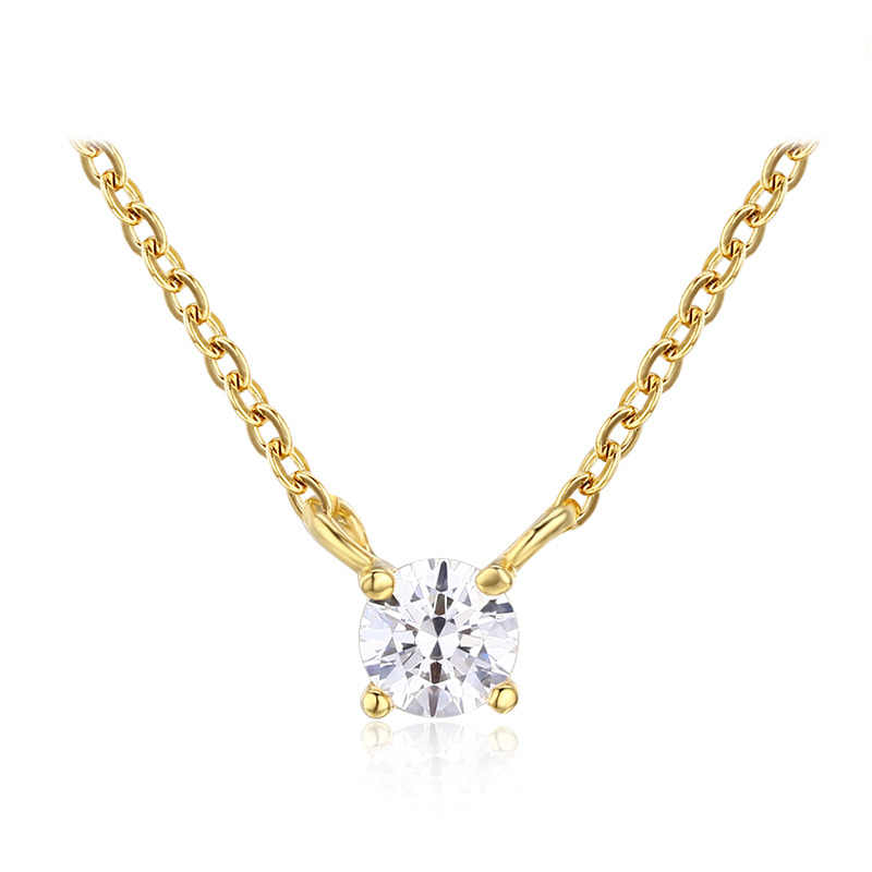 Slim Tiny Cute Small Round AAA CZ Stones 925 Sterling Silver Cross Chain Choker Necklace Women Girls Kids Gold Color Jewelry