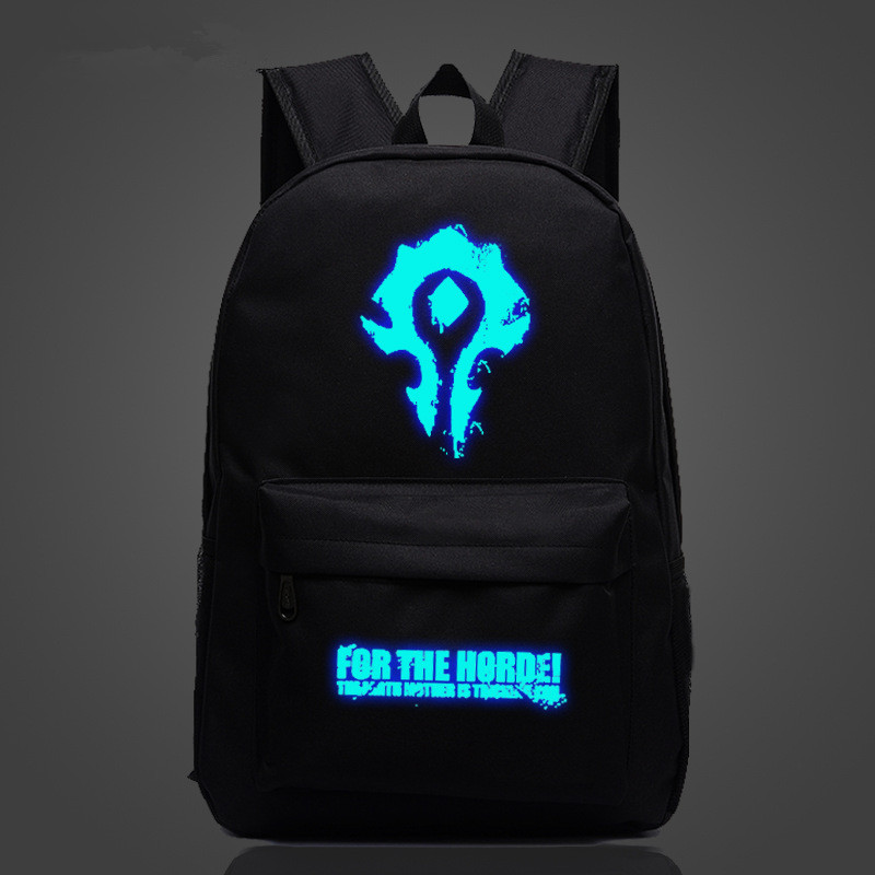 FVIP  WOW For The Horde World Of Warcraft Backpack School Bags Luminous Backpacks Tribe Alliance Nylon Mochila Galaxia state of wow бейсболка wow модель 2587674