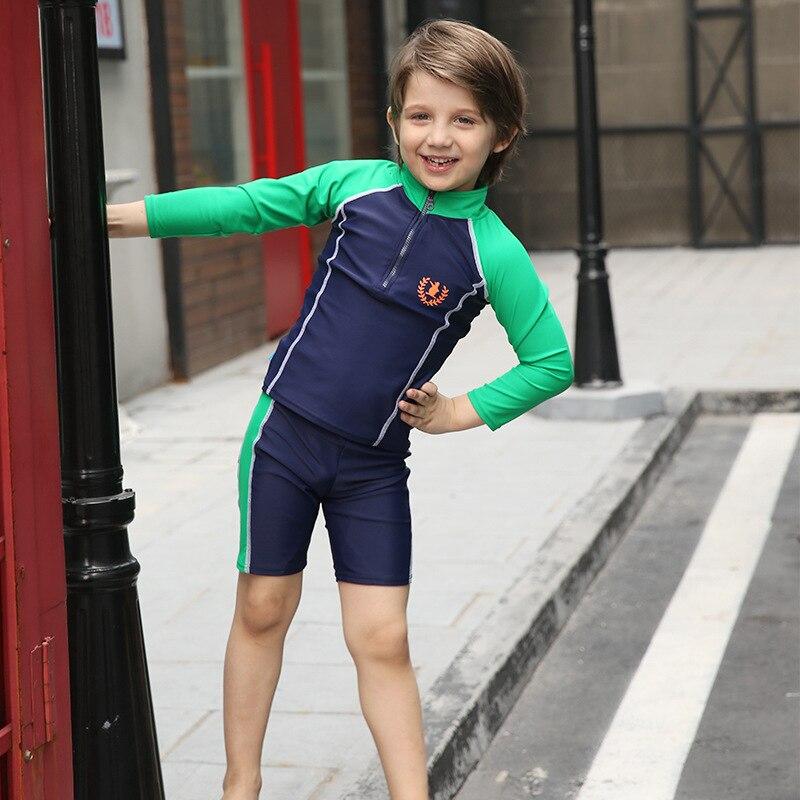ca142c8ae8 1 16Y Children Swimwear Sport 2 Piece Rash Guard Bathing Suit Long Sleeve  Toddler Teenagers Boy's Swimsuits Swim Suit Beachwear-in Swimwear from  Mother ...