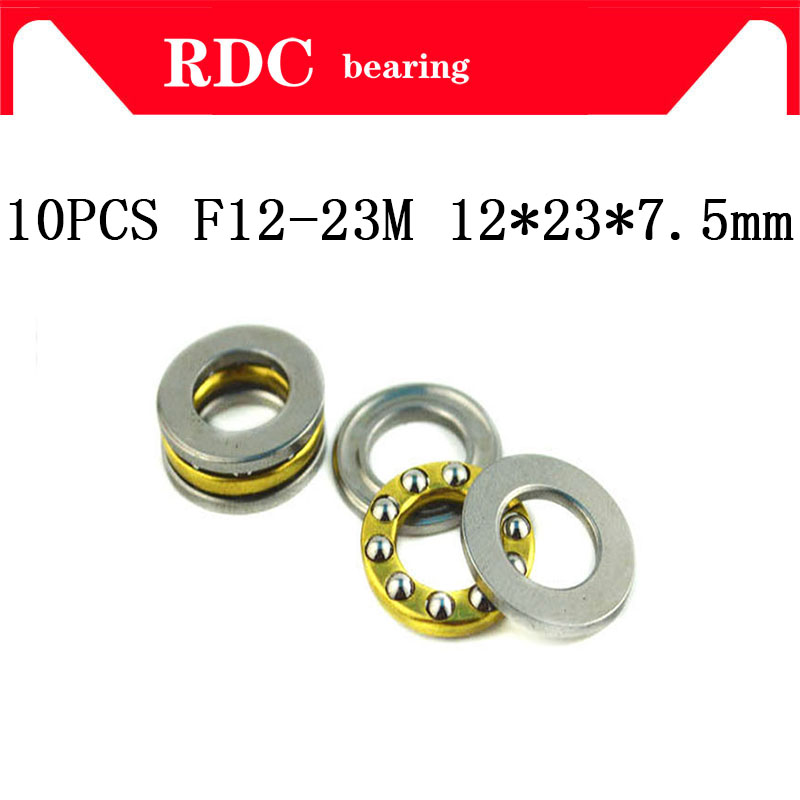 Free Shipping 10Pcs F12-23M Axial Ball High Quality Thrust Bearings 12x23x7.5mm Plane Thrust Bearings For 12mm Shaft 12*23*7.5mm