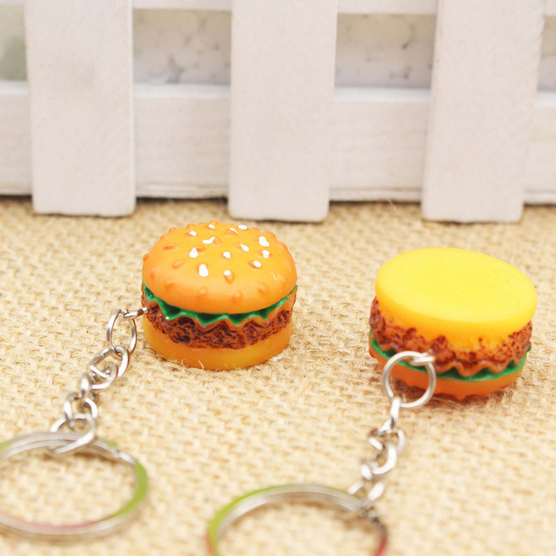 Original Creative Cute Hamburger Keychain Simulation Food Hamburger Pendant Key Ring Novelty Key Chain Christmas Birthday Gift in Key Chains from Jewelry Accessories