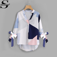 Sheinside V Neck Patchwork Bow Abstract Geometric Print Blouse Tie Cuff High Low Half Sleeve Top 2017 Women's Casual Fall Blouse