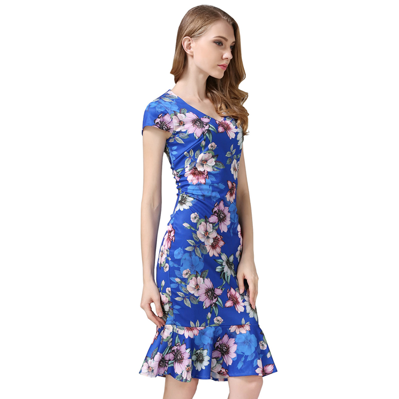 Buenos Ninos dámské bodycon šaty vintage letní V-Neck květinové tištěné mořská panna tužka Midi šaty