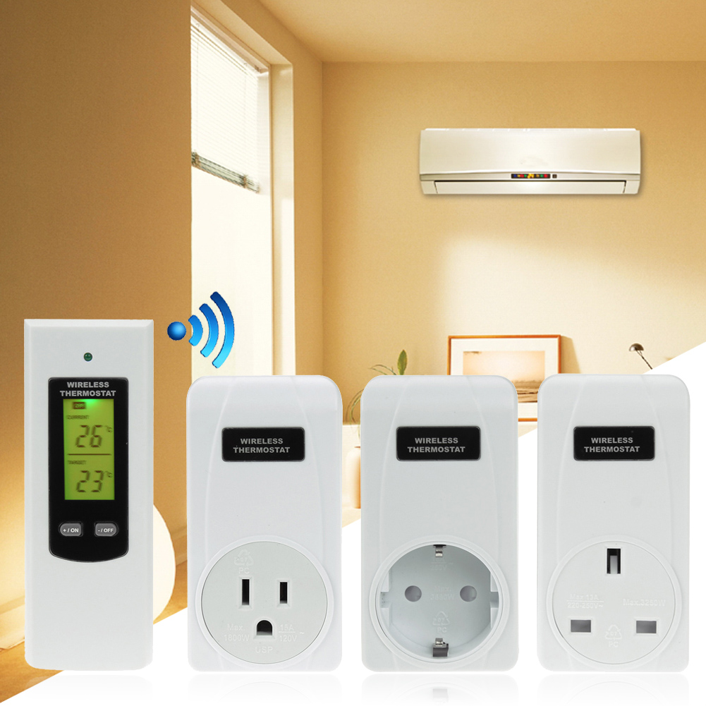 433MHz Remote Control Wireless RF Plug In Thermostat Hydroponic KIT Greenhouse 3KW Temperature Alarm Electric Socket