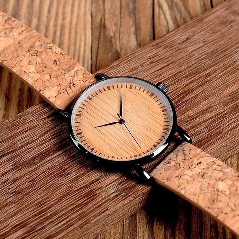 BOBO BIRD E19 Ultra Thin Bamboo Wooden Watches Men Women Simple Quartz Watches Cork Band relojes para mujer Multan