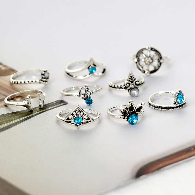 בציר פאנק Knuckle טבעת סט לנשים הולו פרח שמש ירח זהב עתיק צבע כסף תכשיטי טבעות אצבע אמצעית