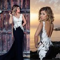 Black And White Abaya Dubai Arabic Mermaid Evening Gowns 2017 Lace Sexy Backless Prom Party Formal Dress Robes De Soiree