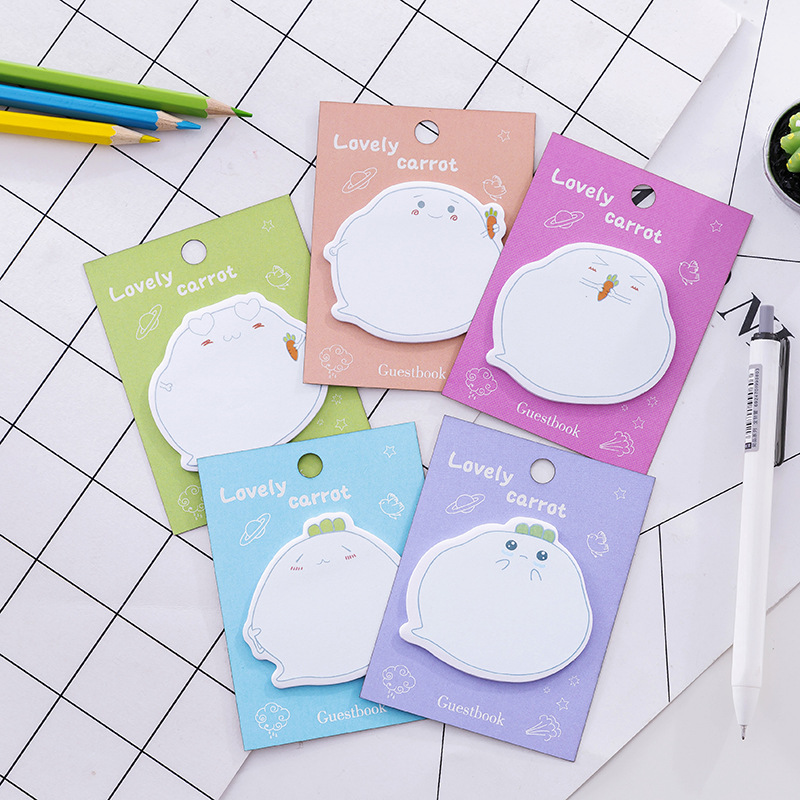 2Pcs New Guest Book Radish expression dialog Mini Memo Pad N Times Sticky Notes School Supply Bookmark Post it Label Gift E0414