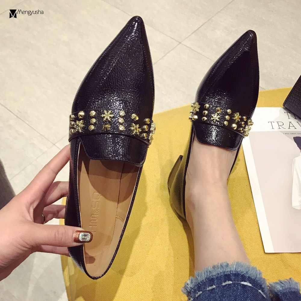 fb88a92a80 mules women pleated japanned leather rivets pumps pointed toe snowflake  studded med high heels shoes ladies