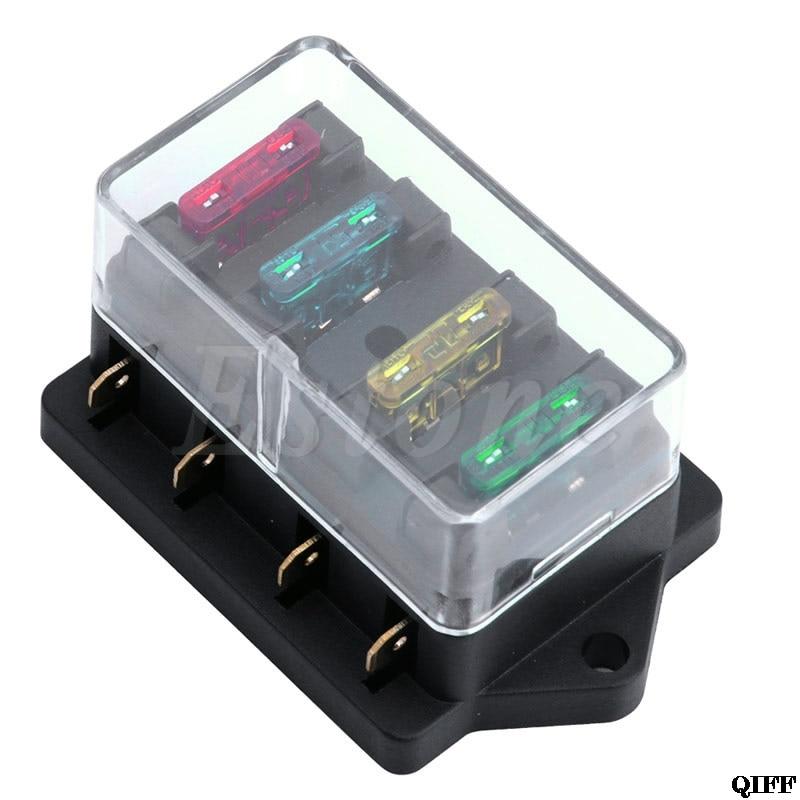 12v 1 x 4 way blade fuse box holder dropshipping 12v 24v 4 way car truck auto blade fuse box holder  car truck auto blade fuse box holder