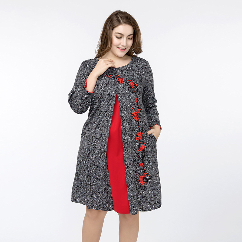 9f778e33e2304 Women's Plus Size Dress 2018 Spring Summer Floral Embroidery Large Size 4XL  5XL Loose Cotton Linen Dresses With Pockets ZPZ371-in Dresses from Women's  ...