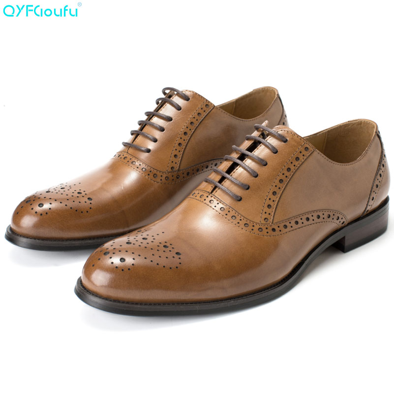 QYFCIOUFU 2019 Newest Genuine Leather Men Formal Shoes High Quality Brogue For Wedding Party Male Flat Luxury Mens Dress ShoesQYFCIOUFU 2019 Newest Genuine Leather Men Formal Shoes High Quality Brogue For Wedding Party Male Flat Luxury Mens Dress Shoes