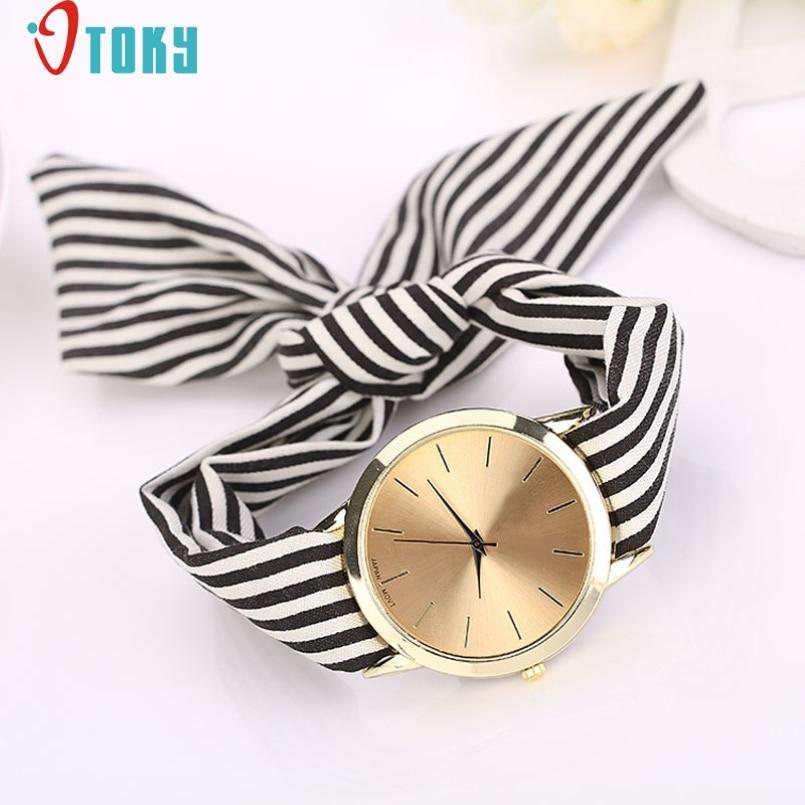 Excellent Quality OTOKY Womens Quartz Watches Dial Stripe Floral Cloth Braided Casual Bracelet Watches Wristwatch Relogios