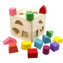 Kids Wooden Shape Sorting Cube Educational Montessori Toys Gift for Toddler