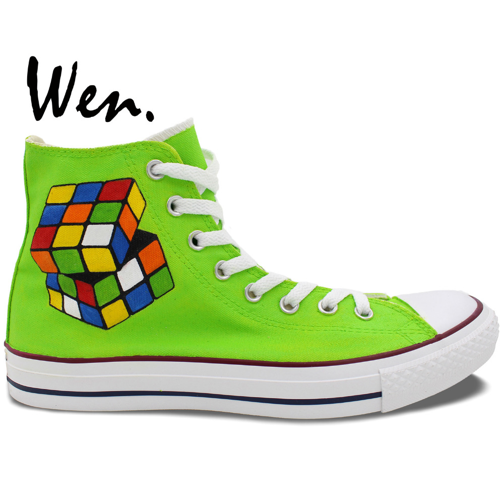 ФОТО Wen Green Hand Painted Sneakers Design Custom Nerds Gone Wild Men Women's High Top Canvas Shoes