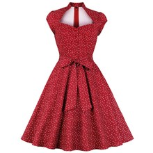 Women Robe Retro Vintage Dress 50S 60S Rockabilly Dot Swing Pin Up Summer Party Dress Bow Elegant Tunic Dresses sexy halter party dress 2019 retro polka dot hepburn vintage 50s 60s pin up rockabilly dresses robe plus size elegant midi dress