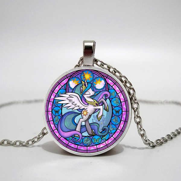 الكرتون بلدي قليلا الحصان باولي بوني سلسلة قلادة لطيف ماجيك قوس قزح الحصان الزجاج جوهرة قلادة قلادة فتاة هدية عيد ميلاد