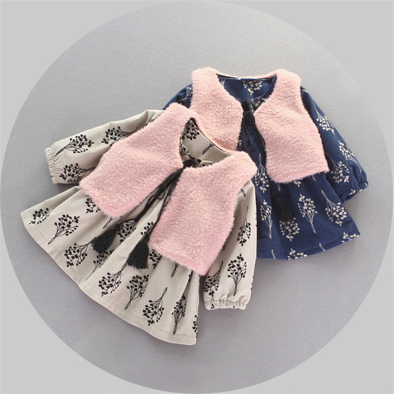 0-2Year Old Baby Girl Clothes Cotton+Acetate Material Casual Dress Children Winter Sets O-Neck Pullover Kids Winter Coat Clothes