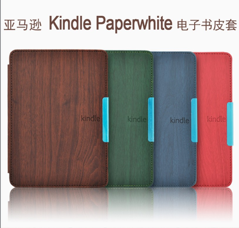 Wood Pattern leather cover case funda for Amazon Kindle Paperwhite 1/2/3 (2012 2013 2014 2015 versions)  6'' ereader+film+stylus walnew leather case for amazon kindle paperwhite 6 inch e book cover fits all versions 2012 2013 2014 and 2015 all new 300 ppi