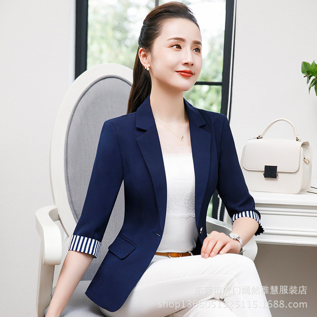 e8468ffd811 2018 verano otoño nueva oficina señoras Blazers Mujer talla grande 4XL  negocios bolsillo traje mujer azul