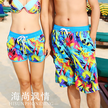 2016 fashion new lovers beach shorts coconut tree  print casual women mens blue swimwears loose