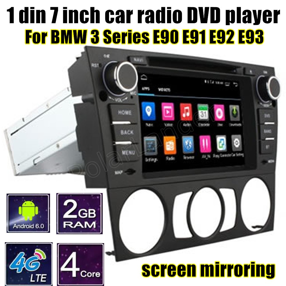 Quad Core Android 6.0 For BMW <font><b>3</b></font> Series E90 E91 E92 E93 Car DVD radio Player <font><b>7</b></font> inch 1 din GPS WIFI 4G SIM LTE image