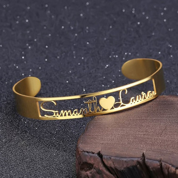 цена на Personalized ID Nameplate Bracelets Bangles For Women Men Custom Gold Two Name Cuff Bracelet Cutomized Stainless Steel Bangles