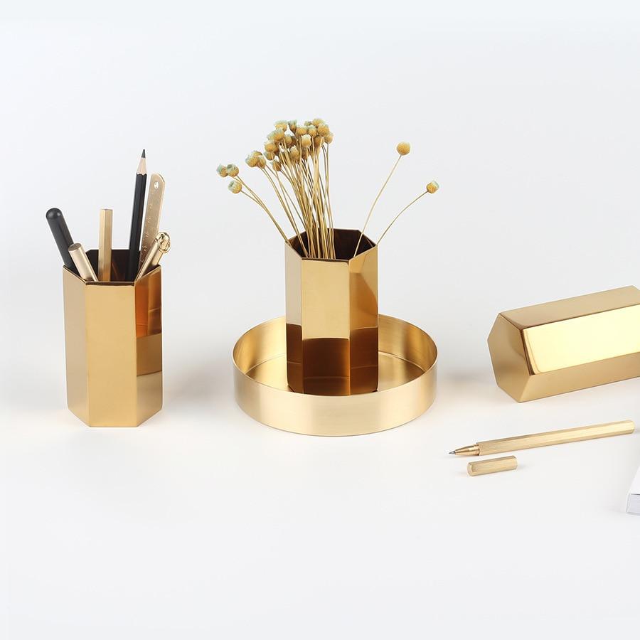 Dokibook Nordic Style Golden Brass Pen Holder Metal Pencil Holder Desk Accessories Penholder Office Decoration School Stationery