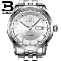 Isviçre saatler erkekler lüks marka Kol Saatleri BINGER İş Mekanik Kol tam paslanmaz çelik Otomatik Tarih B-5067M