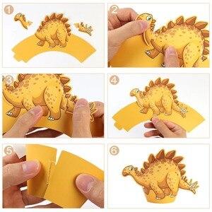 Image 5 - OurWarm 12 Adet Karikatür Dinozor Cupcake Sarıcı Doğum Günü Partisi Süslemeleri Çocuklar Iyilik DIY Dino Bebek Duş Tatlı masa süsü