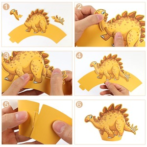 Image 5 - OurWarm, 12 Uds., envoltorio de dibujos de dinosaurio para cupcakes, decoraciones para fiesta de cumpleaños, recuerdo para niños, Decoración de mesa DIY de Dino Baby Shower, postre