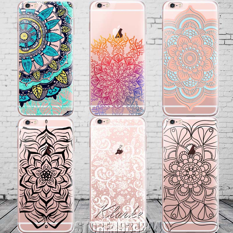 online store 8fb1f 39640 Colorful Floral Paisley Flower Mandala Henna Clear Case For iphone X 6 6s 5  5s se 7 8 plus Silicone Soft Cover