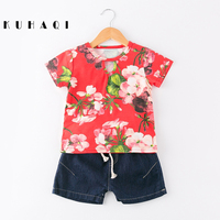 Chinese Style Summer Casual Kids Clothing Set Baby Girls Clothes Suits Floral T Shirts Tops Denim