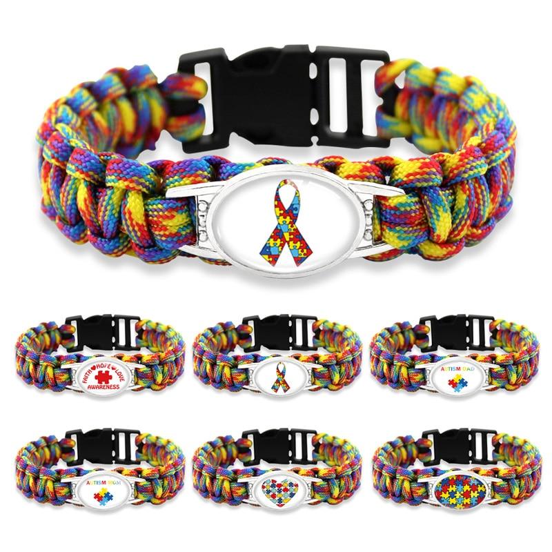 Us 1 5 42 Off Puzzle Piece Autism Awareness Bracelets Hope Colorful 25 18mm Gl Cabochon Survival Paracord Charm Men Women Jewelry In