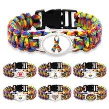 Puzzle Piece Autism Awareness Bracelets Hope Colorful 25 18mm Glass Cabochon Survival Paracord Charm Bracelets Men