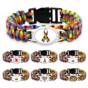 Puzzle Piece Autism Awareness Bracelets Hope Colorful 25*18mm Glass Cabochon Survival Paracord Charm Bracelets Men Women Jewelry(China)