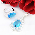 Lucky Mall Hot Sell Shiny Blue Synthetic Topaz (Rings & Pendant) Sets Jewelry High Quality Silver Plated Sets Bijoux