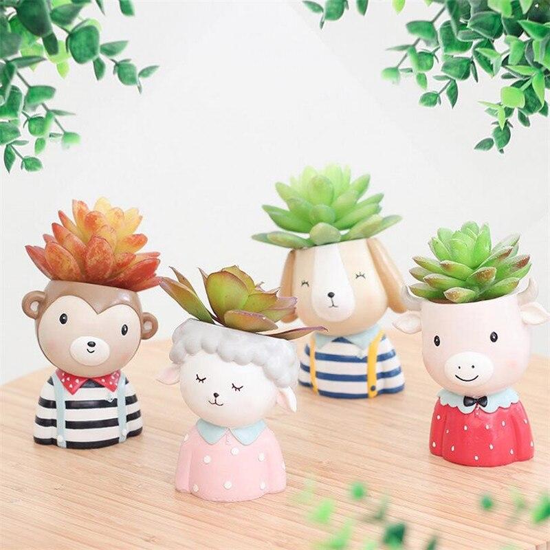 Flone European Style Succulent Plants Planter Pot Flower Animal Plants Vase Mini Plants Flower Bonsai Home Office Decor Craft