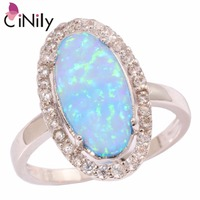 Simple Generous Wholesale Retail Women Jewelry Blue Fire Opal Cubic Zirconia 925 Silver Stamp Ring Size